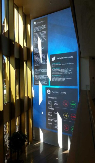 Lobby message and social media board and wayfinding