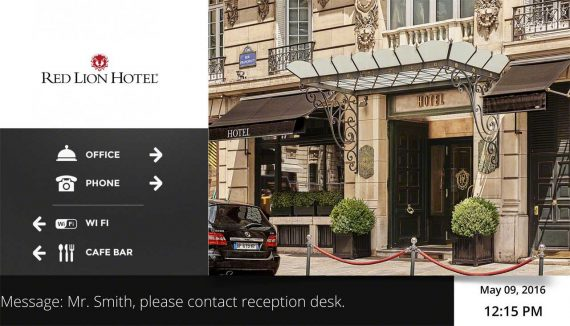 Hotel Lobby display Template made with QL Designer software