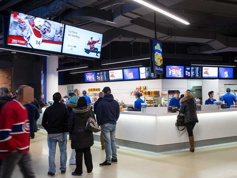 Bell-center-Montreal-digital-signage--and-duo-displays-powered-by-navori-ql-software